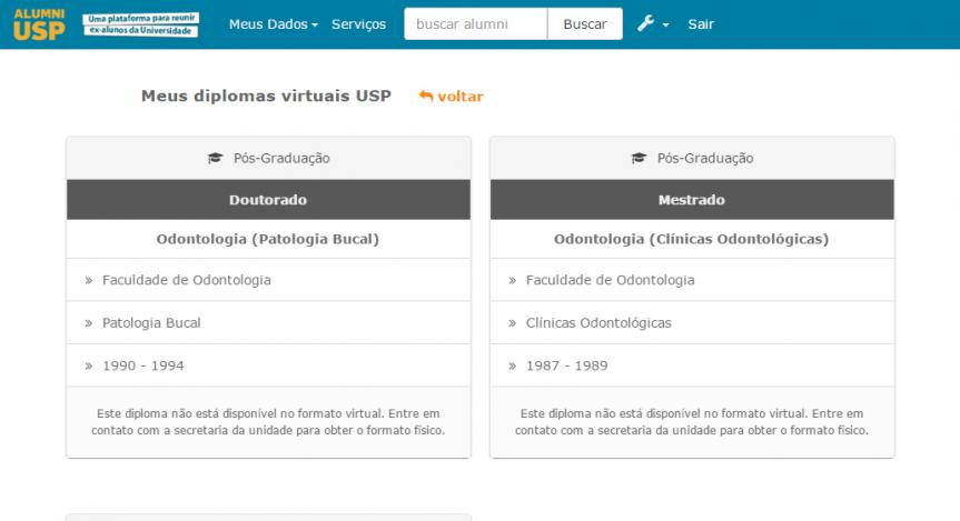 Tela da ferramenta Diploma Virtual