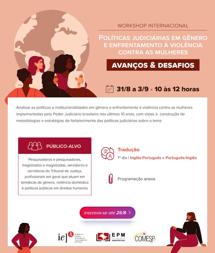 Workshop internacional discute políticas de enfrentamento à violência contra a mulher