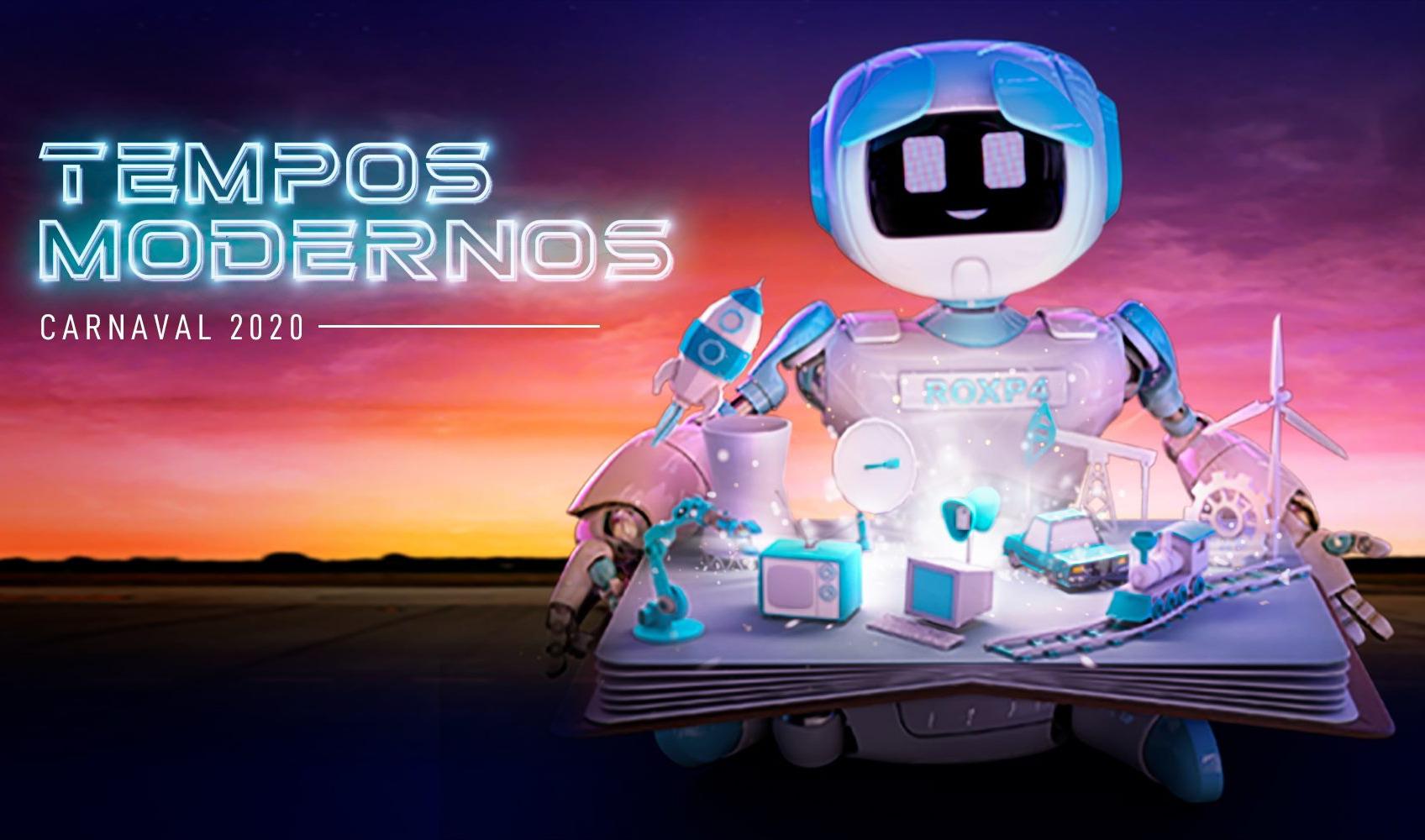 """Robô ROXP4, símbolo do desfile """"Tempos modernos"""", abre o livro das inovações tecnológicas."""