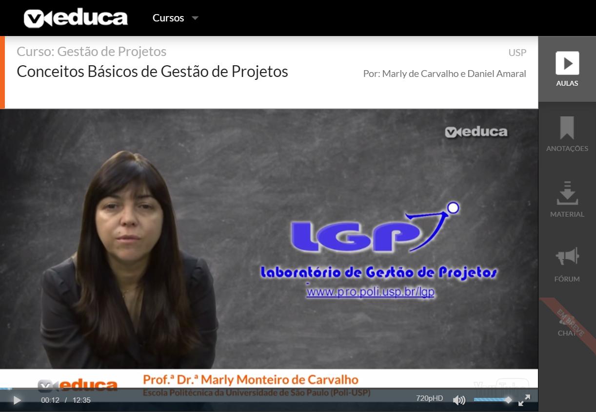 Vídeo aulas disponíveis na plataforma Veduca