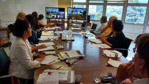 Reunião por videoconferência entre os coordenadores de GTs e a SGA. Foto: Regina Forte, 2015.